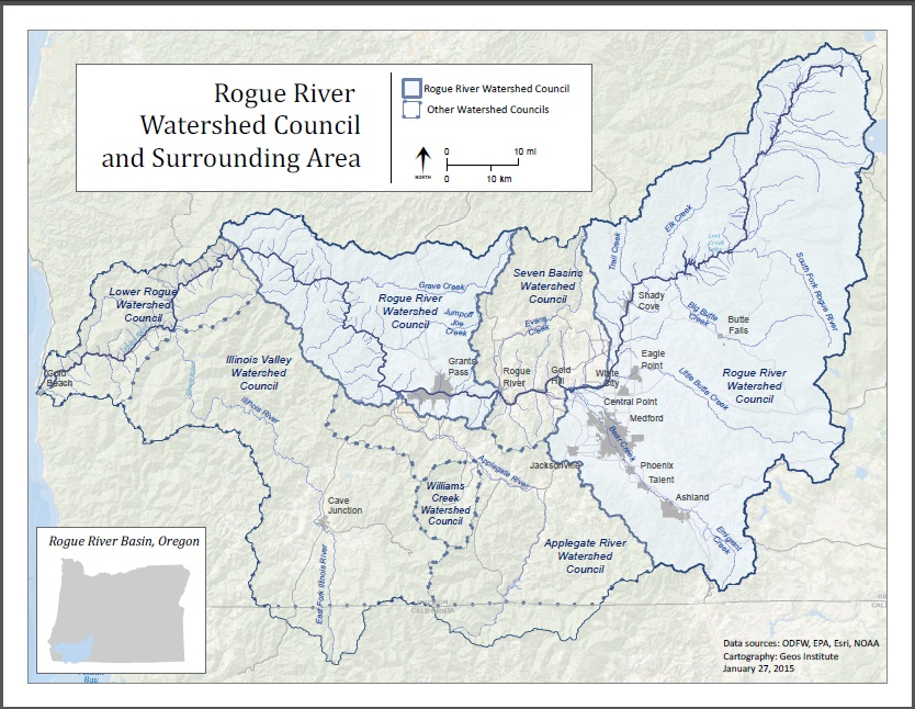 Map of the Rogue River Watershed and surrounding watershed councils.